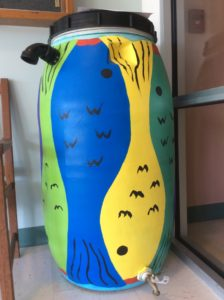 Painted Rain Barrel with Fish