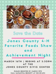 Cover photo for Jones County 4-H Favorite Foods Show 2020