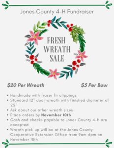 Cover photo for Jones County 4-H Fresh Wreath Fundraiser